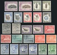 28 ADEN: Yvert 48/62A, 1953/8 Ships, Animals, Landscapes, Etc. Cmpl. Set Of 25 Values, - Aden (1854-1963)