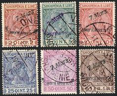32 ALBANIA: Sc.41/46, 1914 Prince Wilhelm Zu Wied, Complete Set Of 6 Used Values, Very - Albania