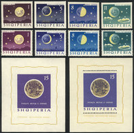 33 ALBANIA: Yvert 694/7 + Souvenir Sheet 6L, Moon Phases, Complete Set Of 4 Values And - Albania