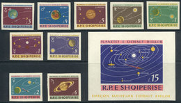 34 ALBANIA: Yvert 729/37 + Souvenir Sheet 6N IMPERFORATE, 1964 Planets, Complete Set Un - Albania