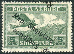 35 ALBANIA: Sc.C8a, With Double Overprint Variety, One Inverted, VF Quality! - Albania