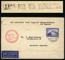 """44 GERMANY: """"Cover Flown By ZEPPELIN, Sent From Friedrichshafen To Barcelona (Spain) On - Germany"""