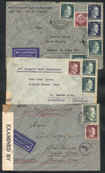 51 GERMANY: 3 Covers Sent To Argentina Between 1942 And 1944, All CENSORED, Interesting - Germany