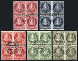 75 GERMANY - BERLIN: Yvert 68/72, 1952 Liberty Bell, Cpml. Set Of 5 Values In Used BLOC - [5] Berlin