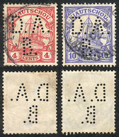 """80 GERMANY - KIAUTSCHOU: """"2 Used Stamps, With Interesting """"D.A.B."""" Perfin!"""" - Offices: China"""