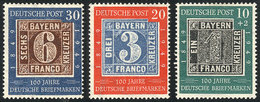 83 WEST GERMANY: Sc.667/8 + B309, 1949 Stamp Centenary, Cmpl. Set Of 3 MNH Values, VF Q - [7] Federal Republic