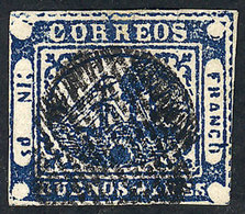 114 ARGENTINA: GJ.11, IN Ps. Blue, Type 39, WITH VARIETY: Large Ink Spot Below The Ship, - Buenos Aires (1858-1864)