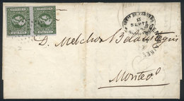 115 ARGENTINA: GJ.16 Vertical Pair Of 4R. Worn Impression, On Folded Cover With Dotted C - Buenos Aires (1858-1864)