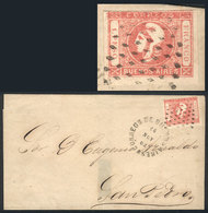116 ARGENTINA: GJ.21, 1862 1P. Rose With PARTIAL DOUBLE IMPRESSION Variety (top Border, - Buenos Aires (1858-1864)