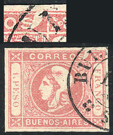 """117 ARGENTINA: """"GJ.21g, 1P. Rose, With Variety: """"Top Right Angle Incomplete"""" (position - Buenos Aires (1858-1864)"""