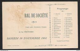 1901 La Trétoire  - Carte Programme Bal De Société - Jolie IIlustration Femme Style Art Déco - La Ferte Sous Jouarre