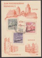 Eilenburg Provinz Sachsen Künstlerkarte Wiederaufbau 1946, Ilburg, Nicolaikirche, Rathaus, Gedenkblatt - Soviet Zone