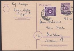 Berlin-Dahlem 1946 6 Pf. Ziffern-GA Mit Zusatzfrankatur Fernkarte Nach Heidelberg - Bizone