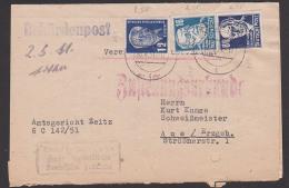 Behördenpost 1951 Mit Zustellungsurkunde 80 Pf Ernst Thälmann, Rudolf Vierchow , Ladung Amtsgericht Zeitz - DDR