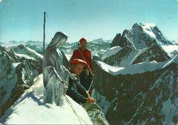 Courmayeur (Valle D'Aosta) Vetta Del Dente Del Gigante, La Madonnina E Due Alpinisti - Aosta