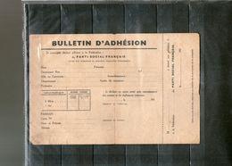 PARTI SOCIAL FRANCAIS: BULLETIN D'ADHESION. - Oude Documenten