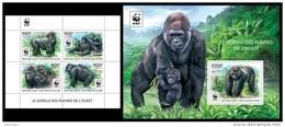 CENTRAL AFRICA 2015 - WWF Gorilla - YT 3813-6 + BF819 - W.W.F.