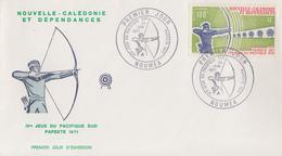 Enveloppe  FDC  1er  Jour  NOUVELLE  CALEDONIE   JEUX  DU  PACIFIQUE  SUD   Tir  à  L' ARC   1971 - Boogschieten