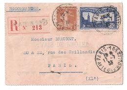 1933 - LETTRE RECOMMANDÉE De PARIS 105 AFFRANCHIE à 1F75 Avec POSTE AÉRIENNE N° 6 + SEMEUSE 25c (AVIS DE PROTET) - Postmark Collection (Covers)