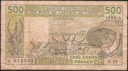WEST AFRICAN STATES IVORY COAST P106Aa 500 FRANCS (19)88 FINE NO Tear,NO P.h. - États D'Afrique De L'Ouest