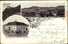 Lithographie Hilders Rhön In Hessen, Ruine Auersberg, Gasthof Zum Engel, Panorama - Otros