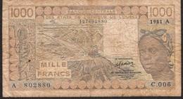 WEST AFRICAN STATES IVORY COAST P107Ab 1000 FRANCS 1981 FINE - États D'Afrique De L'Ouest