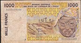 WEST AFRICAN STATES IVORY COAST P111Aa 1000 FRANCS (19)91 FINE - États D'Afrique De L'Ouest