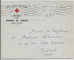 """1938 - OMEC - BELFORT - MECA PP """"5 LIGNES ONDULEES"""" Sur ENVELOPPE CROIX-ROUGE UNION DES FEMMES De FRANCE - Marcophilie (Lettres)"""