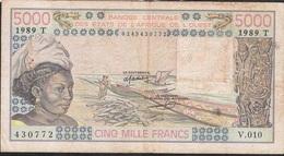 WEST AFRICAN STATES TOGO P808Td 5000 FRANCS 1989 FINE/Better  NO P.h. ! - Togo