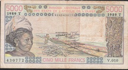 W.A.S. WEST AFRICAN STATES TOGO P808Td 5000 FRANCS 1989 FINE/Better  NO P.h. ! - Togo