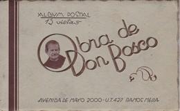 OBRA DE DON BOSCO. 15 VISTAS, ALBUM POSTAL. AVEC BORD DOREE-RARISIME-ARGENTINE-TBE-BLEUP - Argentine