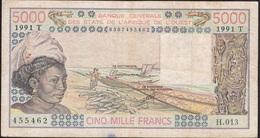 WEST AFRICAN STATES TOGO P808Tk 5000 FRANCS 1991 FINE/Better  NO P.h. ! - Togo