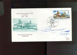 Belgie 1987 2259 Rowing Aviron Roeien Sports   FDC + Signature Designer Oscar Bonnevalle - FDC