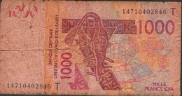 W.A.S. WEST AFRICAN STATES TOGO P815Tn 1000 FRANCS (20)14 FINE - Togo