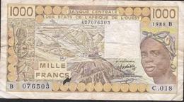WEST AFRICAN STATES BENIN P207Ba 1000 FRANCS 1988 FINE - Bénin