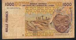 WEST AFRICAN STATES MALI P111Aa 1000 FRANCS (19)91 FINE NO P.h. . - Mali