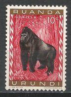 Ruanda-Urundi 1959. Scott #137 (M) Animal, Mountain Gorilla * - Ruanda-Urundi