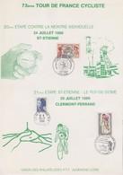 FRANCE - 73e TOUR DE FRANCE CYCLISTE - 20e & 21e  ETAPE  24.7.1986 SAINT ETIENNE - 25.7.1986 CLERMONT-FERRAND / TBS - Brieven En Documenten