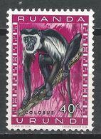 Ruanda-Urundi 1959. Scott #139 (M) Animal, Black-and-white Colobus (Monkey) * - Ruanda-Urundi