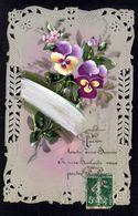 JOLIE CPA FANTAISIE CELLULOID CELLULOIDE AJOUREE DENTELEE CANIVET Peinte à La Main Souhait Bonheur Fleurs-#661 - Fantaisies