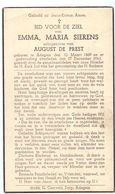 Devotie - Doodsprentje Overlijden - Emma Maria Sierens - Adegem 1869 - 1943 - Obituary Notices