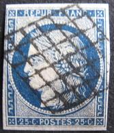 Lot FD/1006 - CERES N°4a Bleu Foncé - GRILLE NOIRE - Cote : 75,00 € - 1849-1850 Cérès