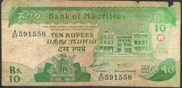 MAURITIUS P35b 10 RUPEES 1985  VG - Mauritius
