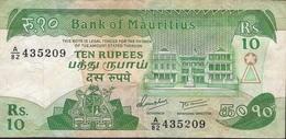 MAURITIUS P35b 10 RUPEES 1985  F-VF NO P.h. - Mauritius