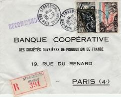 40ème Anniversaire Bataille De Verdun Et Ajaccio - Recommandée De 1956 - Oblitération Strasbourg-Meinau Pour Paris - Marcofilia (sobres)