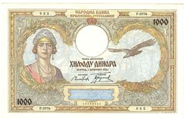 Yugoslavia 1000 Dinara  1931 AUNC-XF -F - Yugoslavia