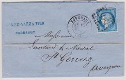 Cérès N° 60 A Position 05 B2 GC 532 Bordeaux Sur Lettre 2 Scans - 1871-1875 Cérès