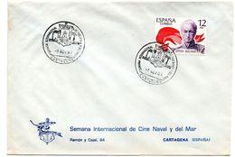 Carta Con Matasellos Commemorativo Semana De Cine Naval Y Del Mar Cartagena De 1980 - 1931-Hoy: 2ª República - ... Juan Carlos I