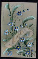 CPA FANTAISIE - CELLULOID CELLULOIDE - PRENOM - MARIE - DOREE - OR - Peinte à La Main - Jolies Fleurs Bleues -#663 - Prénoms