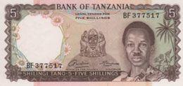 (B0613) TANZANIA, 1966 (ND). 5 Shillings. P-1a. UNC - Tanzanie